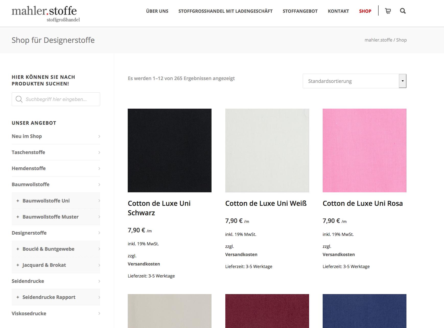 Onlineshop von mahler.stoffe dem Stoffgroß- und Einzelhandel in Hamburg-Hamm