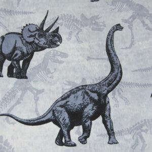 French Terry, Dinosaurier, Eisblau, Marine, Taubenblau