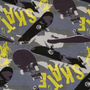 French Terry, Skateboards, Grautöne, Rauchblau, Gelb