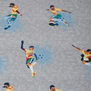 Baumwolljersey, Fussball, Gelb, Grau, Dunkelblau, Orange