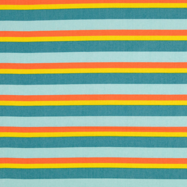 Crétonne, Blockstreifen, Blaugrün, Gelb, Orange