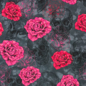 Jersey, Totenköpfe, Rosen, Anthrazit, Pink, Rot