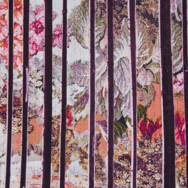 Viskosejersey, Blüten, Streifen, Beerentöne, Rostorange