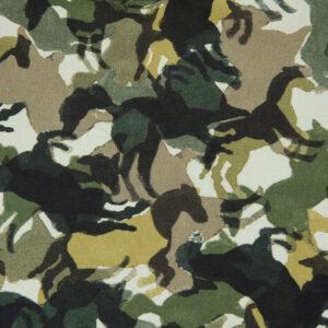 Baumwolljersey, Pferde, Camouflage, Grüntöne