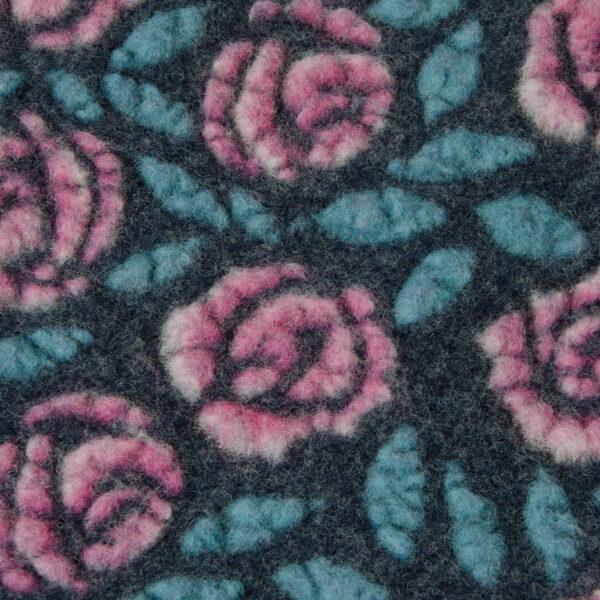 Walkstrick, Rosen, Preußisch Blau, Pink, Türkis