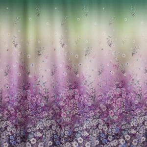 feine Seide, Blumenranken, Farbverlauf, Lila, Grün