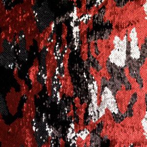 Paillette, Camouflage, Rot, Schwarz, Silber