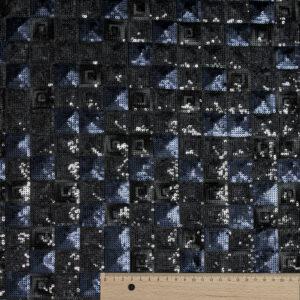 Paillette, Kachelmuster mit 3D Effekt, Anthrazit, Nachtblau