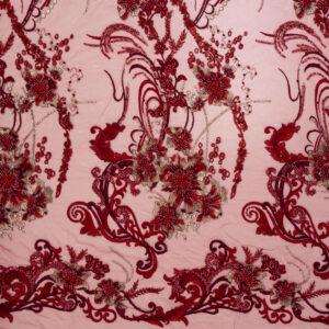 Perlenstickerei, Opulente Arabesken, Rot, Gold