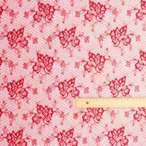 Tüllspitze Floral Rot-Rosa