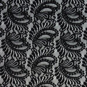 Spitze, ornamental gemustert, Schwarz