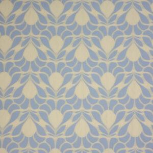 Jacquard im Jugendstil Dekor, Pastell Blau, Creme
