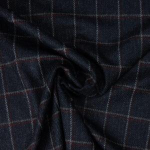 Woll-Tweed, Karo, Marine, Karminrot, Grau