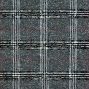 Wolltuch, Webkaro, Schwarz/Weiß, Rot, Dunkelgrau