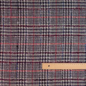 Woll Tweed, Karo, Grau, Lila, Rot