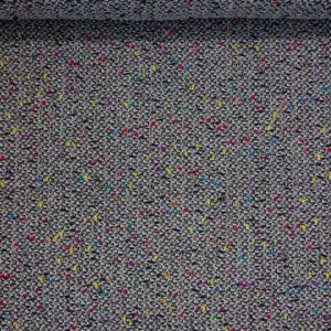 Feiner Woll Tweed, Farbsprenkel Leuchtend, Schwarz-Weiß