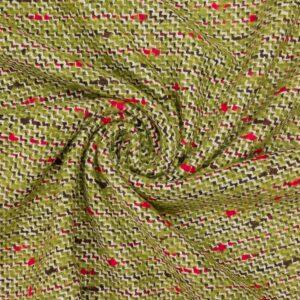 Tweed, Webstruktur, Moosgrün, Rot, Schwarz/Weiß