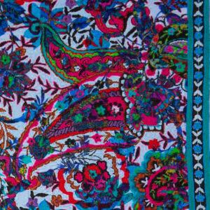 Feincord, Blüten, Paisley, Blautöne, Beerentöne