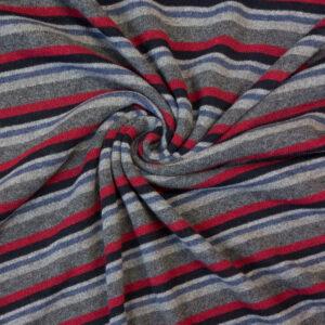 hochwertiger Feinstrick, Streifen, Grautöne, Rauchblau, Rot