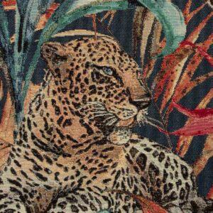 Gobelin, Dschungel, Gepard, Beigebraun, Blaugrün