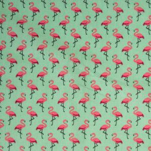 Crétonne, Flamingos, Mint, Pink
