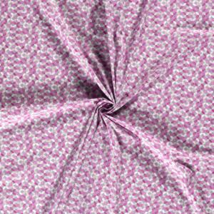 Popeline, grafisch gemustert, Hellgrau, Rosa, Pink
