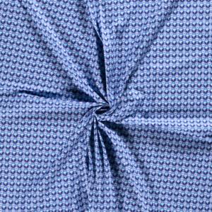Popeline, Floral, grafisch gemustert, Blautöne, Weiß