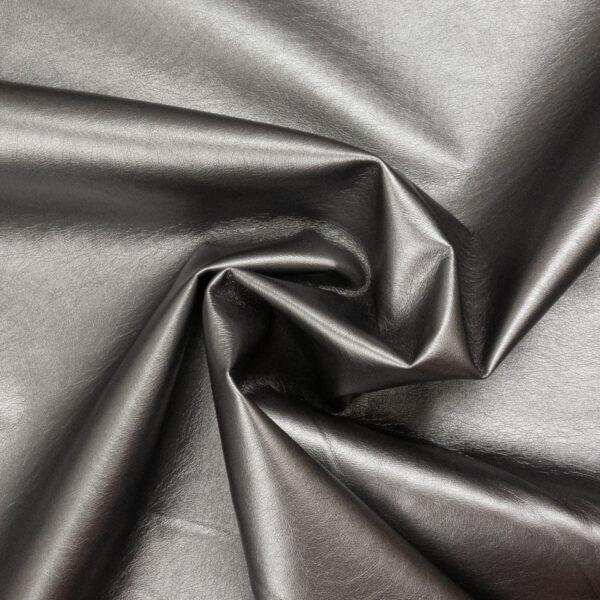 robustes Lederimitat, metallic, Antik Silber