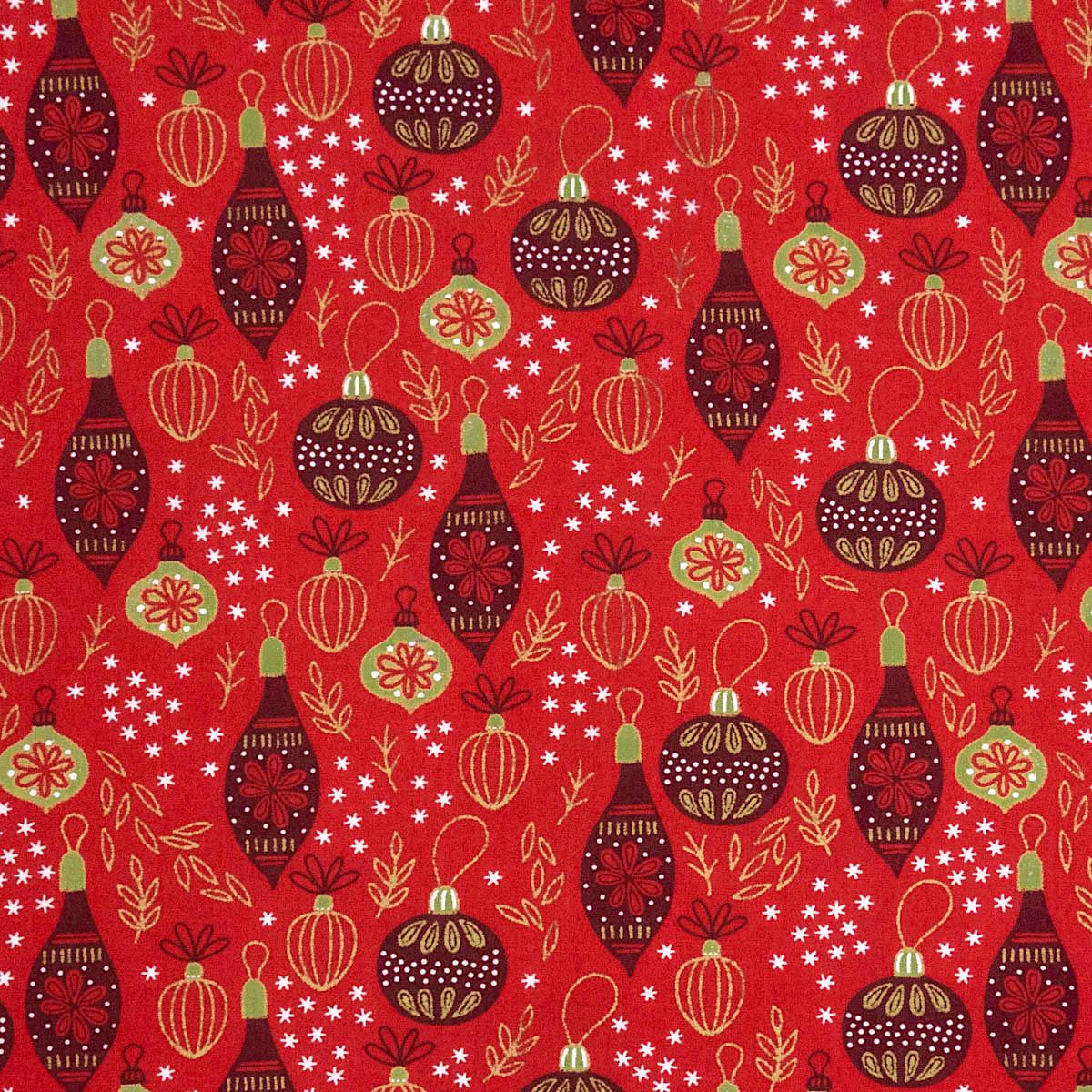 Popeline, Glanzeffekt, Weihnachtsmotive, Gold, Rot