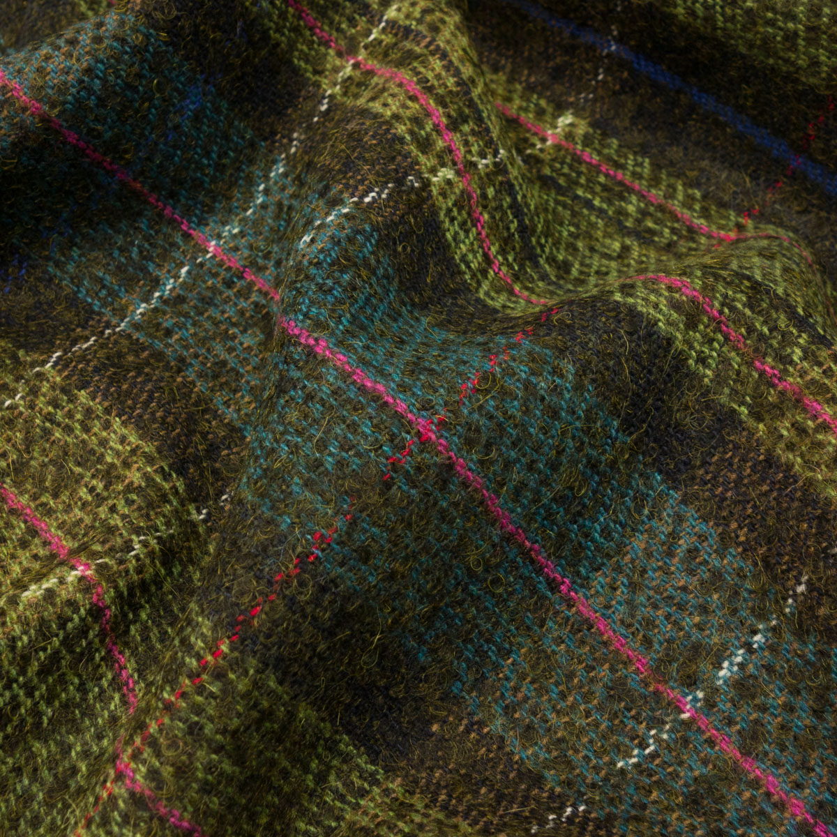 leichtes Manteltuch, Karo, Grüntöne, Blautöne, Pink