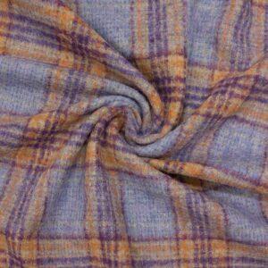 leichtes Manteltuch, Karo, Veilchenblau, Violett, Ockertöne