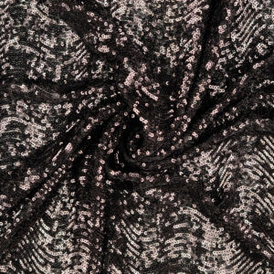 Stretch Paillette unterlegt mit Tüll, grafisch gemustert, Wellen, Schwarz
