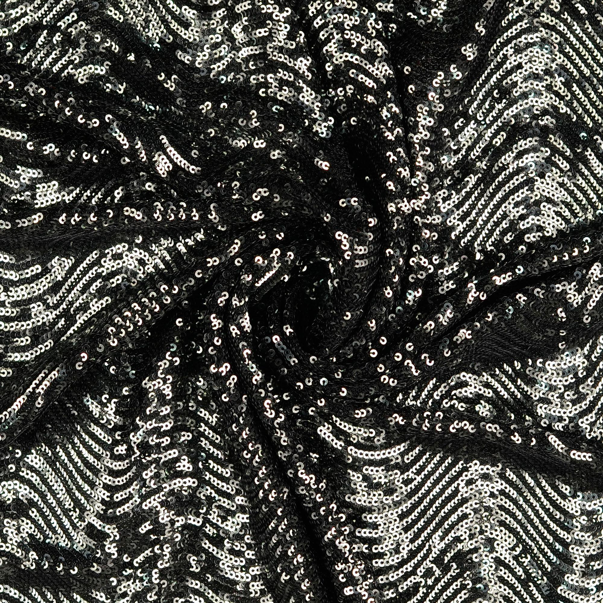 Stretch Paillette unterlegt mit Tüll, grafisch gemustert, Wellen, Schwarz, Anthrazit