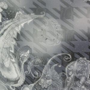 Jacquard, Hahnentritt, Paisleyblüten, Grautöne, warmes Weiß