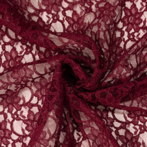 Spitze, florales Muster, Bogenkante, Weinrot