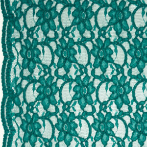 Spitze, florales Muster, Bogenkante, Smaragdgrün