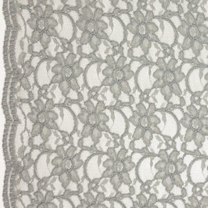 Spitze, florales Muster, Bogenkante, Grau
