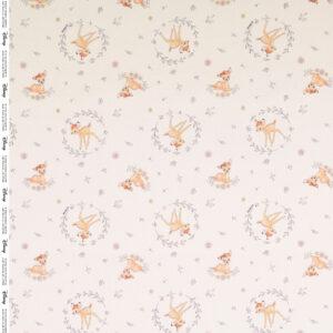 Popeline, Tiermotive, Blütenzweige, Rehbraun, Grau, Offwhite