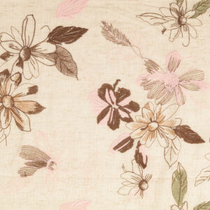 besticktes Leinengemisch, Blumen, Natur, Rosé, Braun