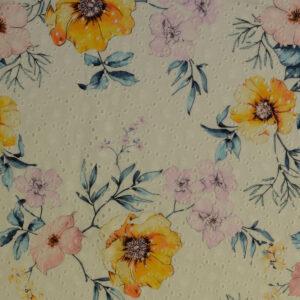 Batist, Lochstickerei, Blütenzweige, Weiß, Sonnengelb, Rosa