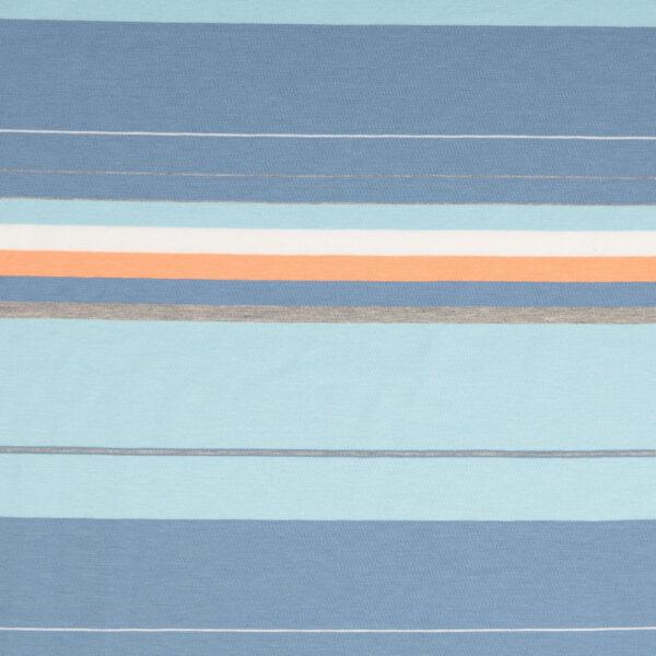 Jersey, Webstreifen, Blautöne, Orange