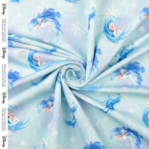 French Terry, figurativ illustriert, Pferde, Rosa, Blautöne