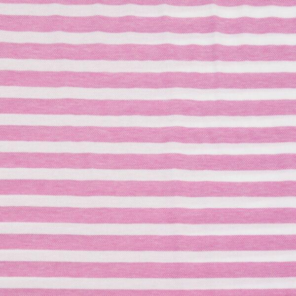 Piqué, Blockstreifen, Weiß, Pink