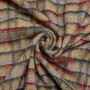 Wolltweed, Karo, Grau, Pastellgelb, Rot