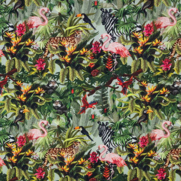 Popeline, mehrfarbig, Dschungel, Grüntöne, Beerentöne, Brauntöne