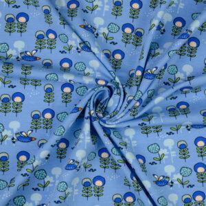 Baumwolljersey, Kindermotive, Blautöne