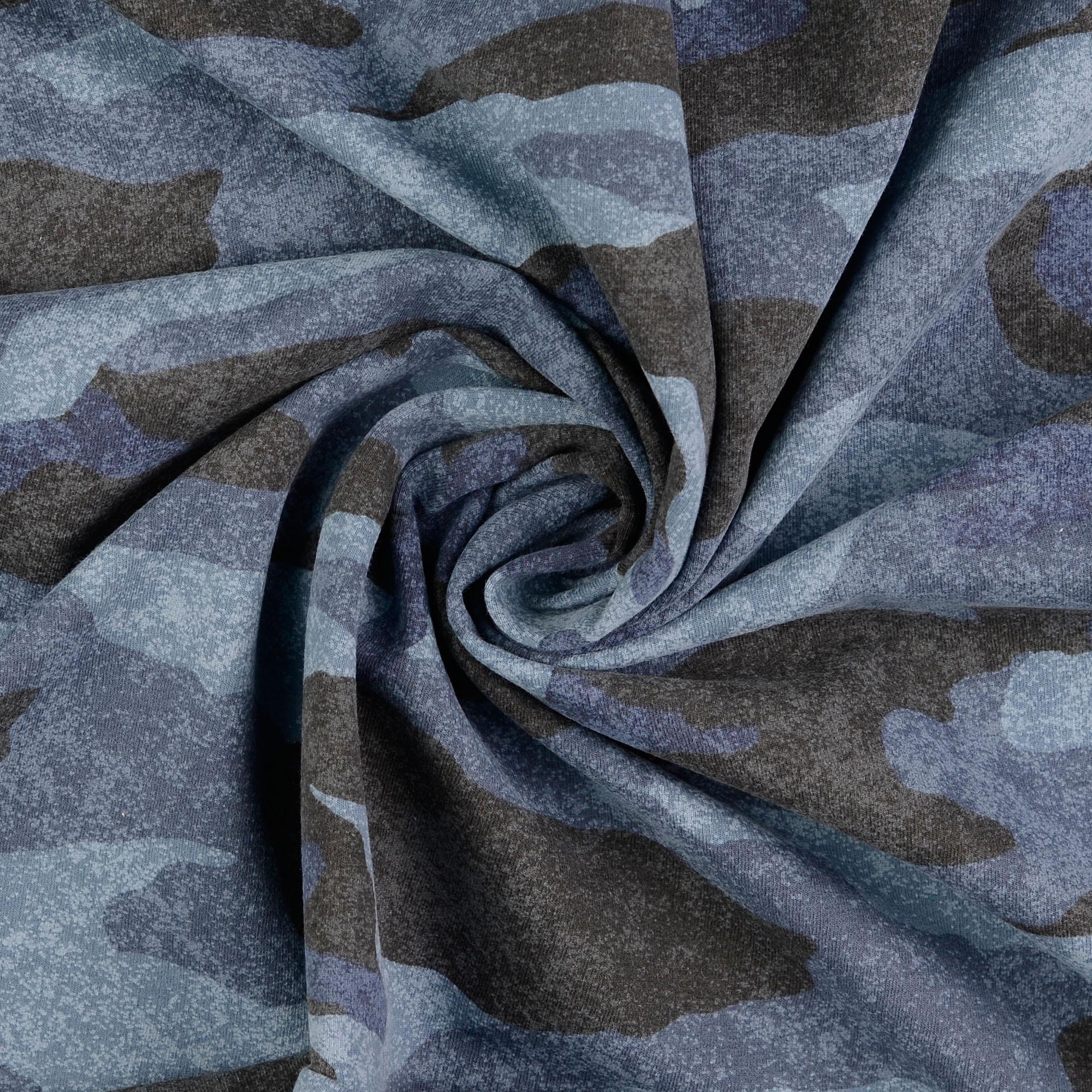 French Terry, Camouflage, Blautöne