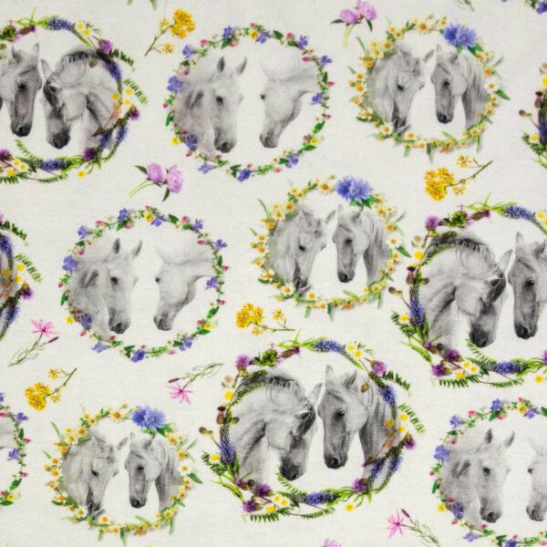 Baumwolljersey, Pferde, Blütenzweige, bunt, Offwhite
