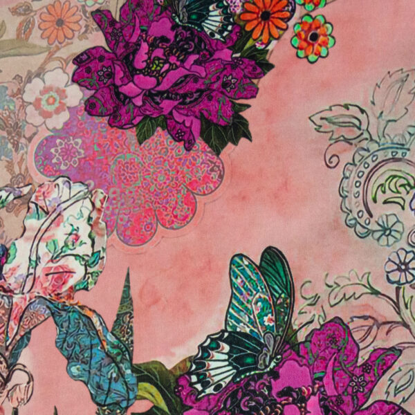Crêpechiffon, Flora und Fauna, ornamental gemustert, Rosé, Blau, Fuchsia