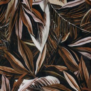 Crêpechiffon, Blattwerk, Palmblätter, Brauntöne
